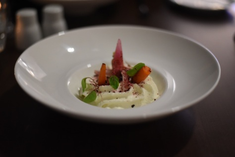 Goats Cheese Espuma Chicory marmalade, radish, young vegetables