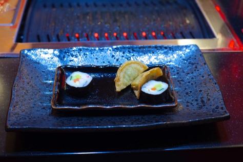 Vegetable mandu dumplings, Kimbap (Korean sushi)