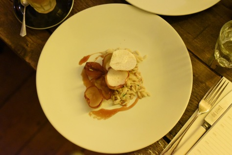 Onion, orzo and beer - orzo with onion caramelised in beer, pine nut emulsion and parsnip