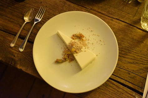Panna cotta with roasted oat meal and crystallised Gorse