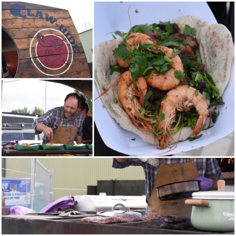 Claw Hide's surf & turf - flat iron steak w/ prawns, a garlic herb salad and wood-fired flatbread