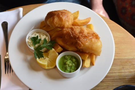 Fish & chips - home battered fillet, home cut chips and mushy peas