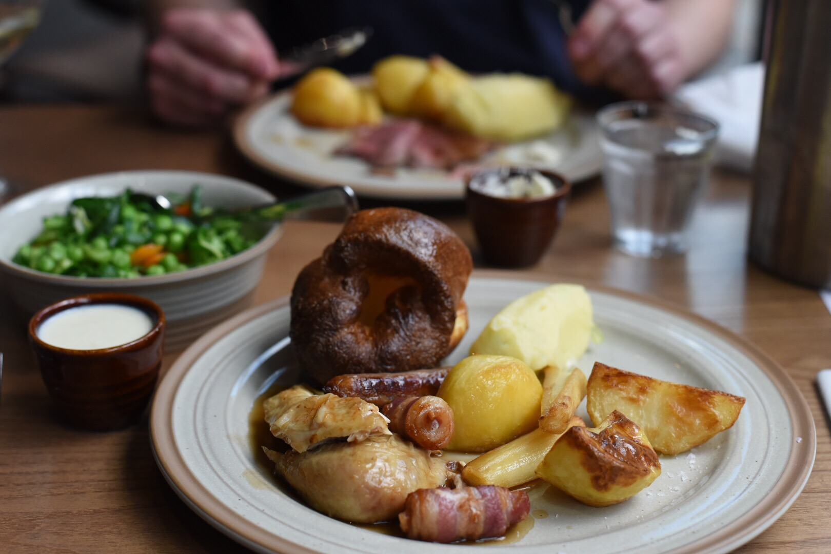... roast potatoes, parsnips, bread sauce, greens and Yorkshire pudding
