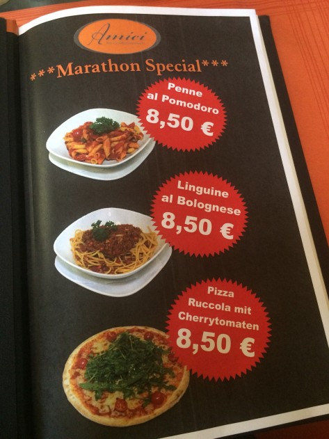 Marathon pasta - at Amici in Gendermenmart