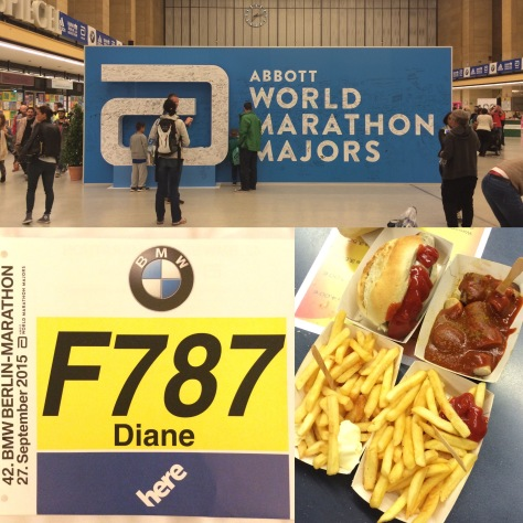 Berlin Marathon Expo, curry wurst, brat wurst and fries