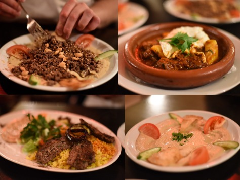 Baraka - hummus with fried lamb, tagging Marrakesh and shish kebab with bulgar wheat and rice